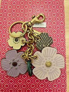NWT Coach Tea Rose Mix Bag Charm Key Chain With Snakeskin 89406