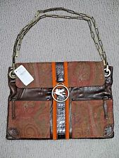 NEW ETRO multi-color paisley fabric and leather chain strap handbag