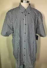 Basic Editions Short Sleeve Black White Striped Easy Care Shirt Big Men's 2XL