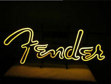 "Fender Guitar Man Cave Real Glass Neon Sign 17""x14"""