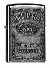 Zippo Jack Daniel's Label chrome mit aufgelegter Platte Benzinfeuerzeug 60001209