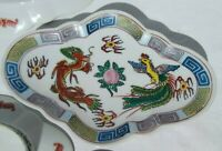 Vintage Scalloped Oval Footed Asian Plates Red Dragon Phoenix 2 Sizes Red Stamp