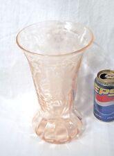 Vtg Antique Pink Depression Glass Paden City Peacock + Wild Rose Nora Bird Vase