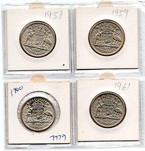 1958/1959/1960/1961 AUSTRALIAN FLORIN 4 COIN VERY GOOD GRADE