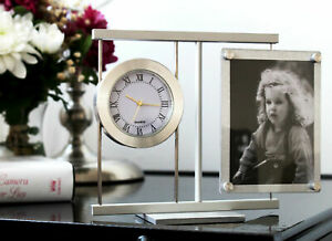 Desk Clock Metal and Wood for Home and Business - Stylish