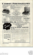 1955 PAPER AD Carron Co Toy Play Record Player Phonograph Portable