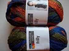Schachenmayr SMC Frilly ruffle mesh scarf yarn, Caribbean, lot of 2 (30 yds ea)