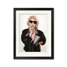 Lady Gaga in Black Leather Biker Jacket Poster Print