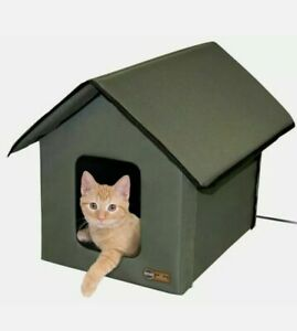 NEW K&H Pet Products Outdoor Heated Kitty House Cat Shelter, Olive Color