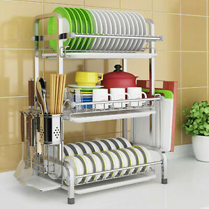 3 Tier Dish Drying Rack Drainer Shelf 304 Stainless Steel Kitchen Cutlery Holder
