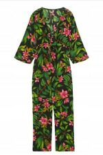 ZARA   NWT Tropical floral jumpsuit with tie front bow, pink, green and black SM