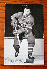 VINTAGE DOUG HARVEY AUTOGRAPHED MONTREAL CANADIENS HOCKEY POSTCARD NHL RARE !