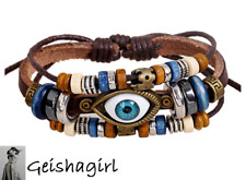 Retro Evil Eye Silver Brown Leather Bracelet Surfer Biker Adjustable UK Seller