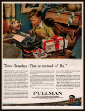 1943 A WWII AD PULLMAN RAILROAD BOY DOG TYPEWRITER CHRISTMAS STICKERS LETTER
