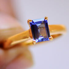 Natural Blue Tanzanite Real 14KT Yellow Gold 1.60CT Rectangle Shape Wedding Ring