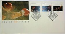 "1988 FDC Australia. Seoul Olympics. ""Olympic Rings"" PictPMK ""CANBERRA"""