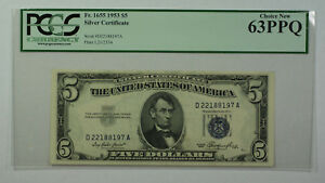 1953 $5 Bill Silver Certificate Note Currency PCGS 63PPQ Fr. 1655 (B)