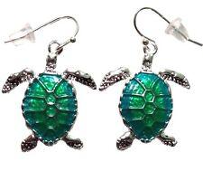Enamelrd Gift Boxed Fast Shipping Silver Tone Enameled Sea Turtle Earrings
