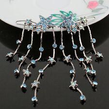 2pcs Dangle Stars Icy Blue Austrian Crystal Rhinestone Hair Barrette Clips B174