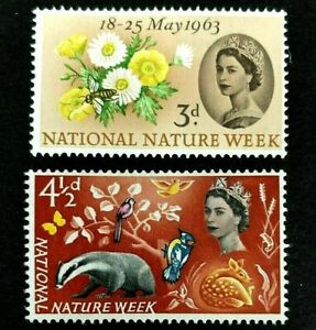 🟪 GREAT BRITAIN  - 1963  -  NATURE WEEK - FULL SET  -  MINT NEVER HINGED