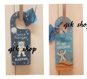 Kids Children Room Double Sided Door Hanger Sign Plaque Wooden Glow In the dark