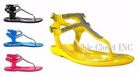 Women Gladiator Flat Jelly Sandals T-strap Style Ankle Jewel Rhinestone Shoes