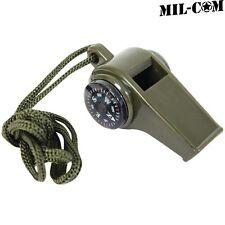 MIL-COM 3 en 1 Sifflet armée Camping randonnée d'urgence boussole thermomètre