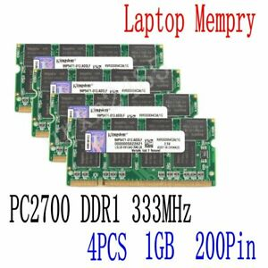 4GB 4x 1GB DDR 333Mhz PC1-2700 200Pin SODIMM RAM Laptop Kit  Memory For Kingston