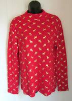 WHITE STAG Ugly Christmas Reindeer Mock Turtleneck Red Shirt Top Medium 8/10