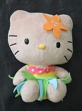 Hello Kitty Sanrio Hawaiian Luau Hula Skirt Lei Tripical Orange Plush 2013 Tan