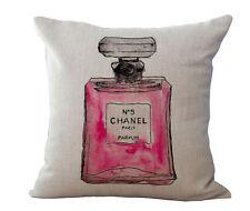 Vintage Designer Pink Perfume Bottle Linen Cushion Cover  45x45cm Home Decor