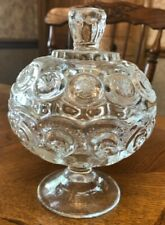 Vintage Glass L E SMITH Moon & Stars Clear Compote with Lid