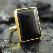 Handmade Hammered Large Rectangle Onyx Ring Yellow Gold over 925 Sterling Silver