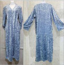 Diamond Tea Robe Velvet zip Caftan size Large blue shimmer Brand New