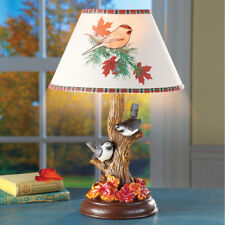 Intricately Detailed Pair of Chickadees On Tree Table Lamp w/ Shade