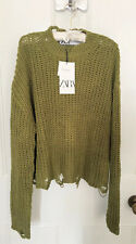 Ladies Zara Ripped Knit Sweater With Cotton In Olive Green Size L BNWT LAST ONE