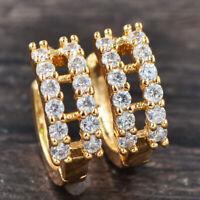 Fashion Women 18K Gold Plated Two Rows Clear CZ Hoop Huggie Earrings 15MM