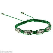 San Judas Saint St Jude The Apostle 5 Metal Charm Adjustable Green Cord Bracelet