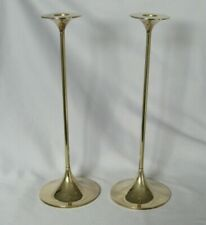 Pair Mcm Danish Modern Brass Candlesticks Design By Max Bruel For Torben Orskov