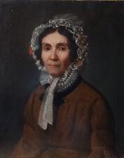 Sup. portrait d'une aristocrate, début XIXè, huile sur toile ; parfait état