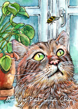"ACEO LE Art Card Print 2.5x3.5/"" Cat and the Bee /"" Cute Animal Art by Patricia"
