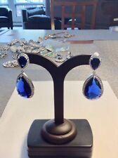 Joan Boyce Sapphire Blue/White Crystal Clip On Earrings