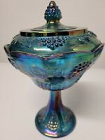 Indiana Carnival Glass Iridescent Blue Covered Compote Candy Dish Harvest Grape