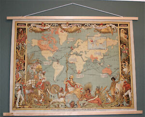 """1886 Emperial Federation Wall Map of British Empire Art Print on Canvas 37""""x27"""""""