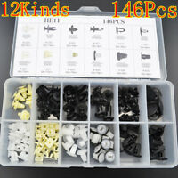 146Pcs Car Push Retainer Pin Body Bumper Rivet Trim Moulding Clip Accessories Ki
