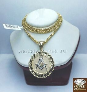 Real 10k Yellow Gold Masonic Charm Pendant Palm Chain Necklace Various Length N