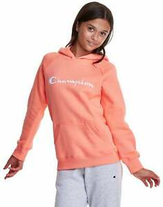 Champion Sweatshirt Fleece Pullover Hoodie Script Logo Kanga Pocket Girls Kids