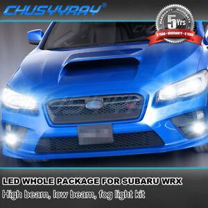 For Subaru WRX 2015-2019 2020 8x LED Headlight+Fog Light Bulbs Combo Kit 6000K