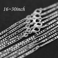 """2MM 925 SOLID STERLING SILVER SOILD CHAIN NECKLACE ALL INCH SIZES 16"""" ~ 30"""""""