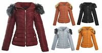 Shelikes Womens Ladies Faux Fur Hooded Quilted Jacket Coat